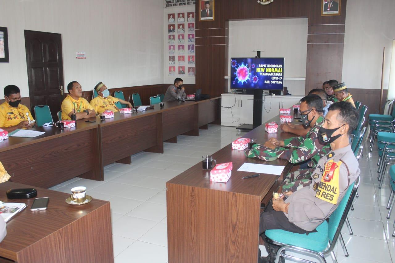 Polres Soppeng Bersama TNI dan Instansi Terkait Gelar Rakor Pembahasan Penanganan Covid 19