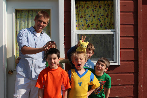 And what could be goofier than a cabin of boys? Caleb is on the bottom-right.