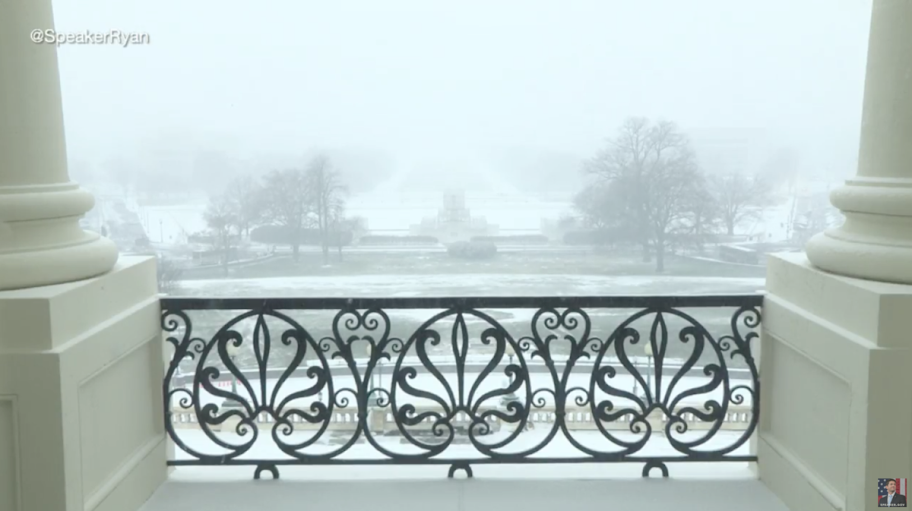 House Speaker Ryan offers livestream video of Washington DC blizzard