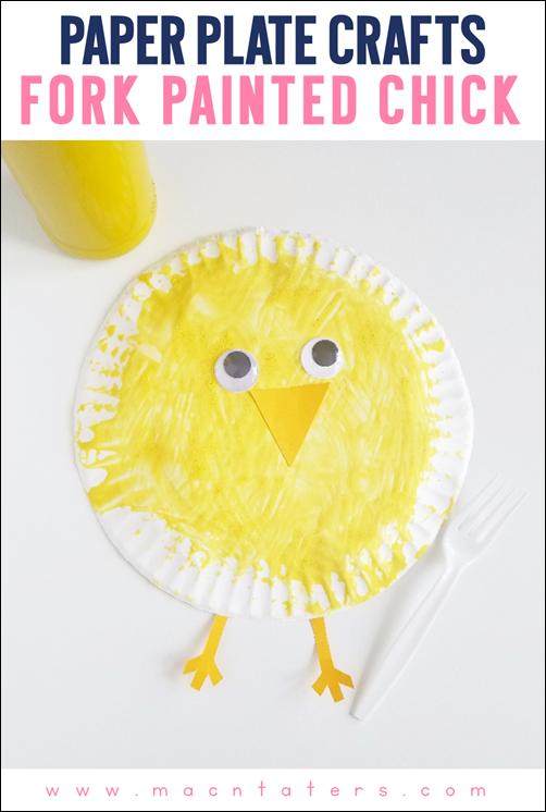 Paper Plate Fork Painted Chick Craft-A great spring or Easter craft idea.