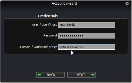 Zoiper Account wizard: Credentials