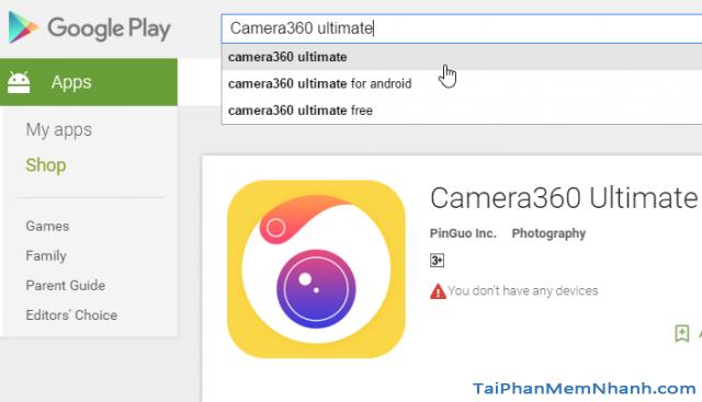 cài đặt Camera360 Ultimate trên Google Play
