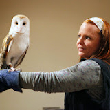 Emily George, a teacher naturalist at the Blue Hills Trailside Museum, introduces a Barn Owl at the Birds of Prey program at the Marion Natural History Museum Friday night. Photo credit: Michael Smith.