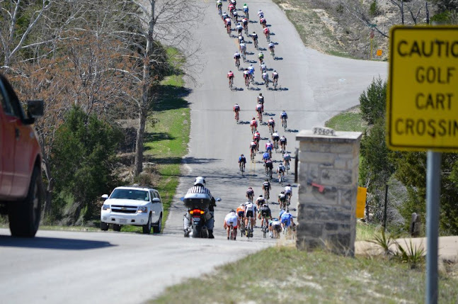 A view of the peloton from the descent.