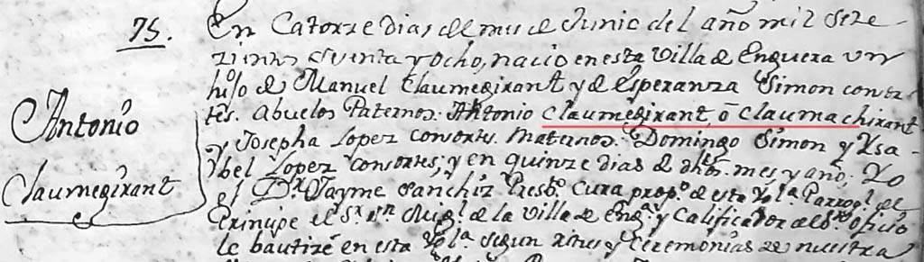 Inscripción bautismal de Antonio Claumegirant Simón. (Archivo Parroquial de Enguera)