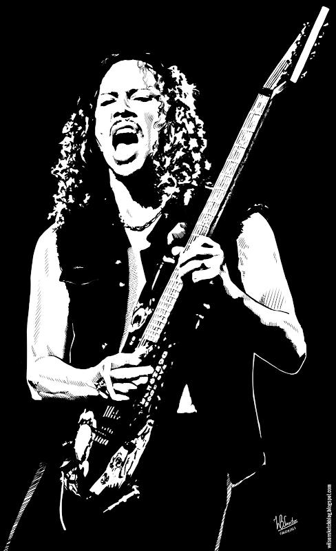 Ink drawing of Kirk Hammett, using Krita 2.4.