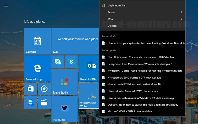 5. Windows 10 Start Menu Context Menu - Recent Files (www.kunal-chowdhury.com)