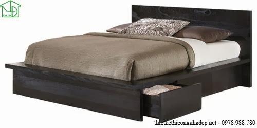 Giường ngủ được thiết kế với ngăn kéo chứa đồ dưới gầm giường