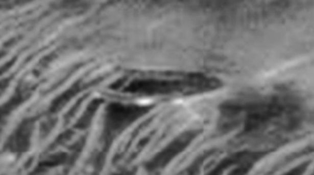 Mars UFO craft or possibly a UFO base in NASA photo.