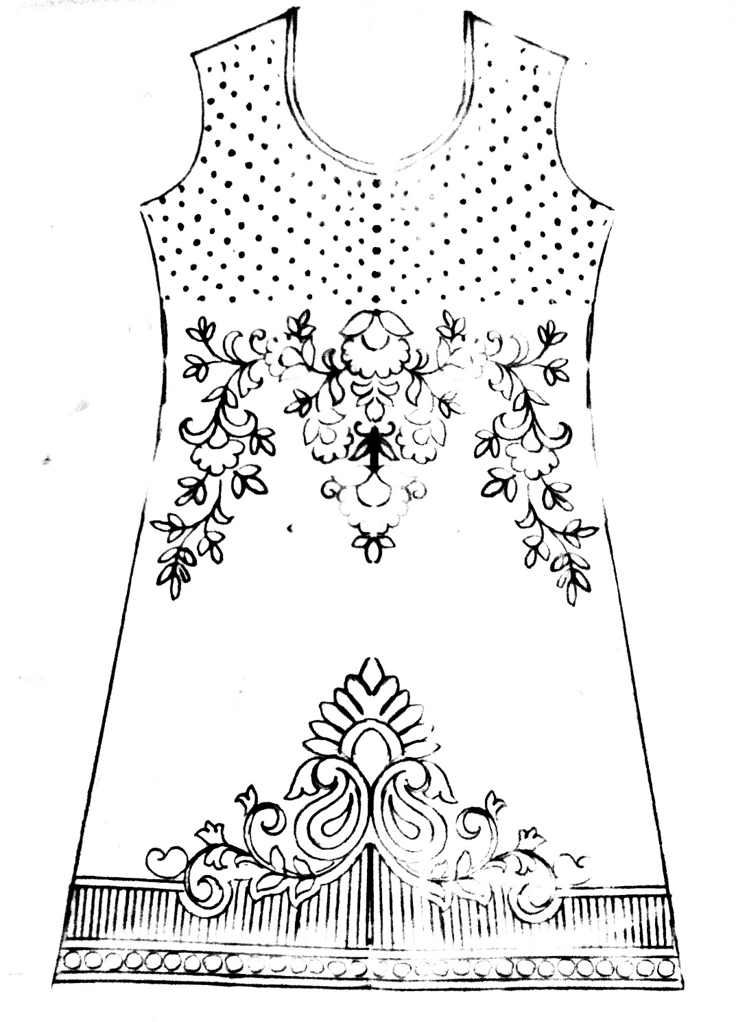Free download hand emroidery kurti design patterns sketch on paper. Dress design drawing easy for embroidery.