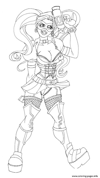 Print Sexy Adult Gun Harley Quinn Coloring Pages