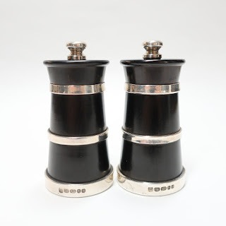 Ebony & Sterling Silver Salt & Pepper Mills