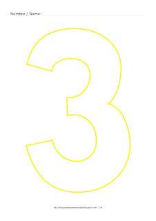Lámina para colorear y pintar el número tres en color amarillo