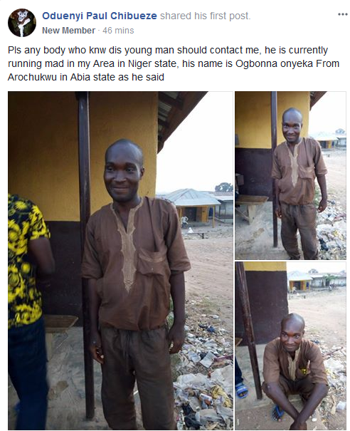 Man From Abia State Goes Mad in Niger State, Family Yet to Claim Him (Photos)