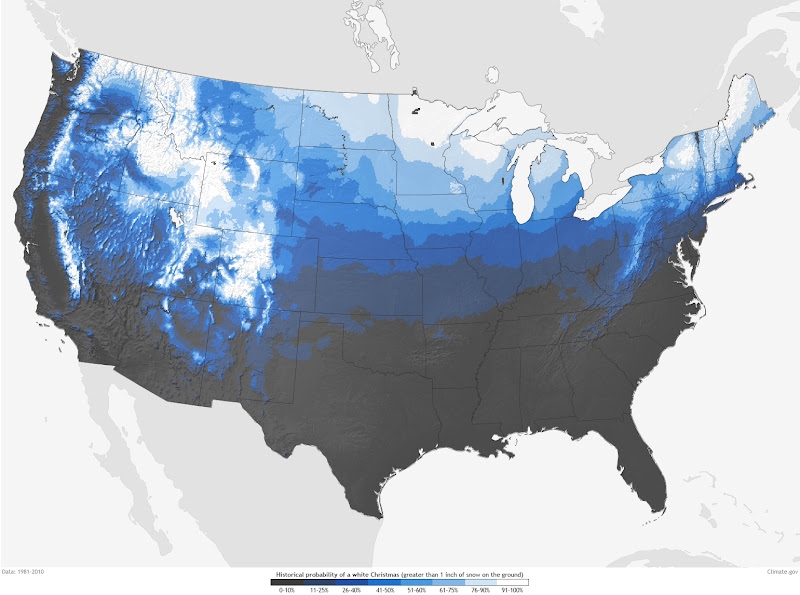 White Christmas probability map for the contiguous United States. (NOAA)