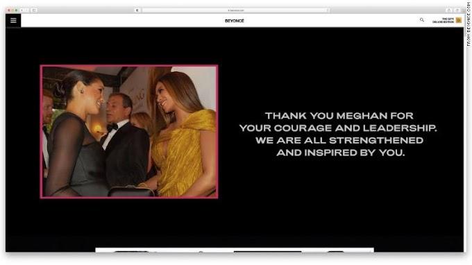 Beyoncé agradece a Meghan por 'coraje y liderazgo'