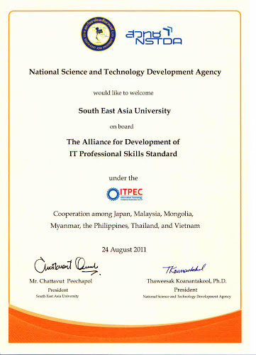 The Alliance for Development of IT Professional Skills Standard between NSTDA and Southeast Asia University, August 2011