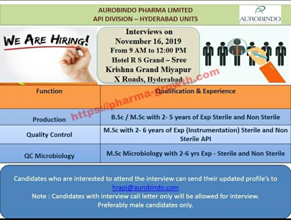 Aurobindo Pharma Ltd – Walk in interview for Production & Quality Control, Microbiology on 16th November 2019
