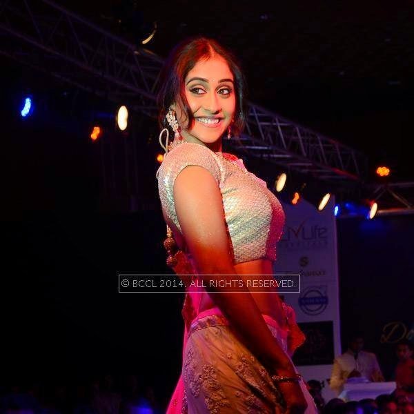 Regina Cassandra walks the ramp at Teach for Change, a charity fashion show powered by LivLife Hospitals, in Hyderabad.