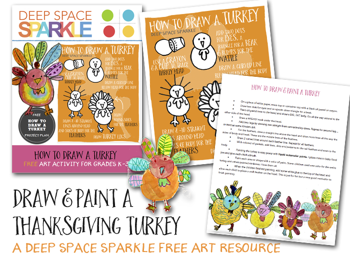 How To Draw Paint A Thanksgiving Turkey Deep Space Sparkle