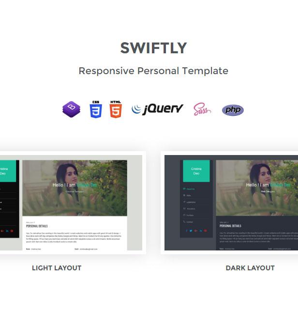 Swiftly - Personal & Portfolio Template - 1