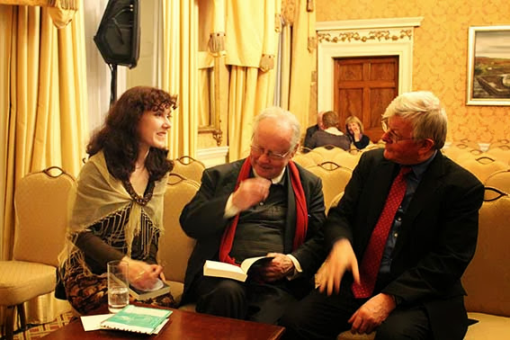 Irish Poet Brendan Kennelly discussing with RTE Presenter Seamus Hosey at the launch of his biography on the eve of his birthday
