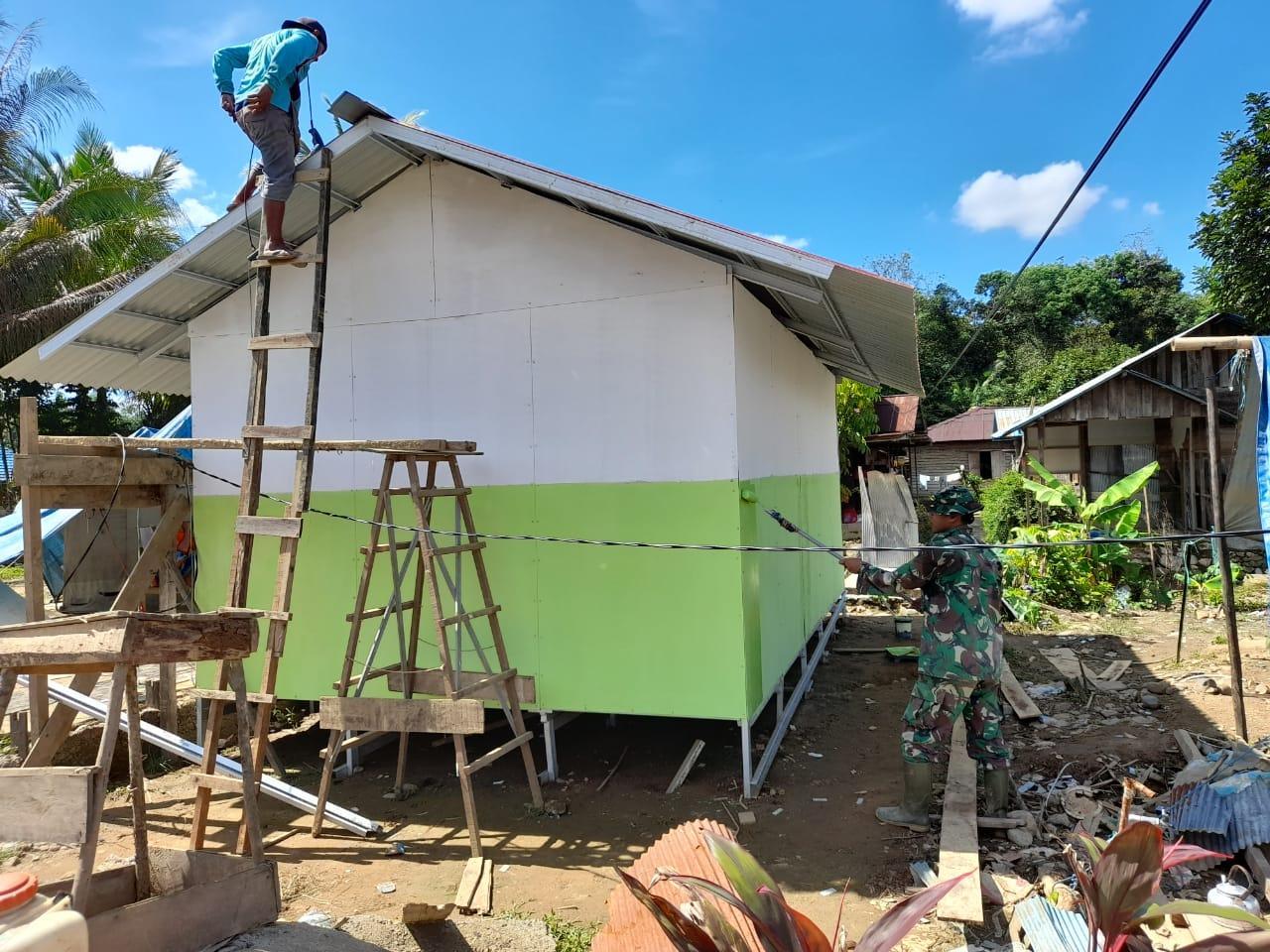 Pembangunan Huntara di Desa Baru Capai 90 Persen