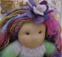 "Paula - 17""  Weighted Waldorf Doll, Handknit Sweater, Fingers, Shoes, Nightie"