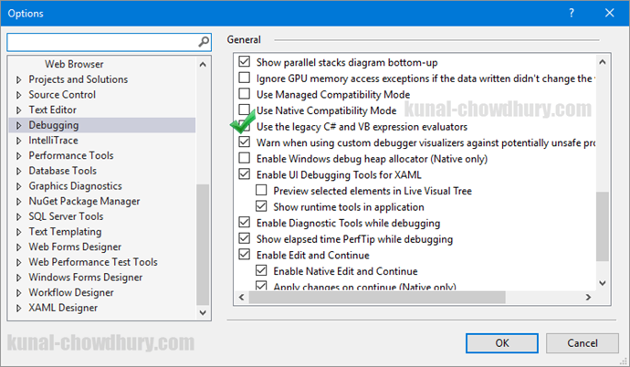 Solution - Internal error in the expression evaluator - Visual Studio 2015