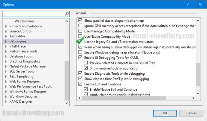 Solution - Internal error in the expression evaluator - Visual Studio 2015