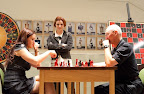 2009 US Women's Champion Anna Zatonskih, roulette chess co-creator Jennifer Shahade and Chess Club and Scholastic Center of Saint Louis founder, Rex Sinquefield. Photo Betsy Dynako