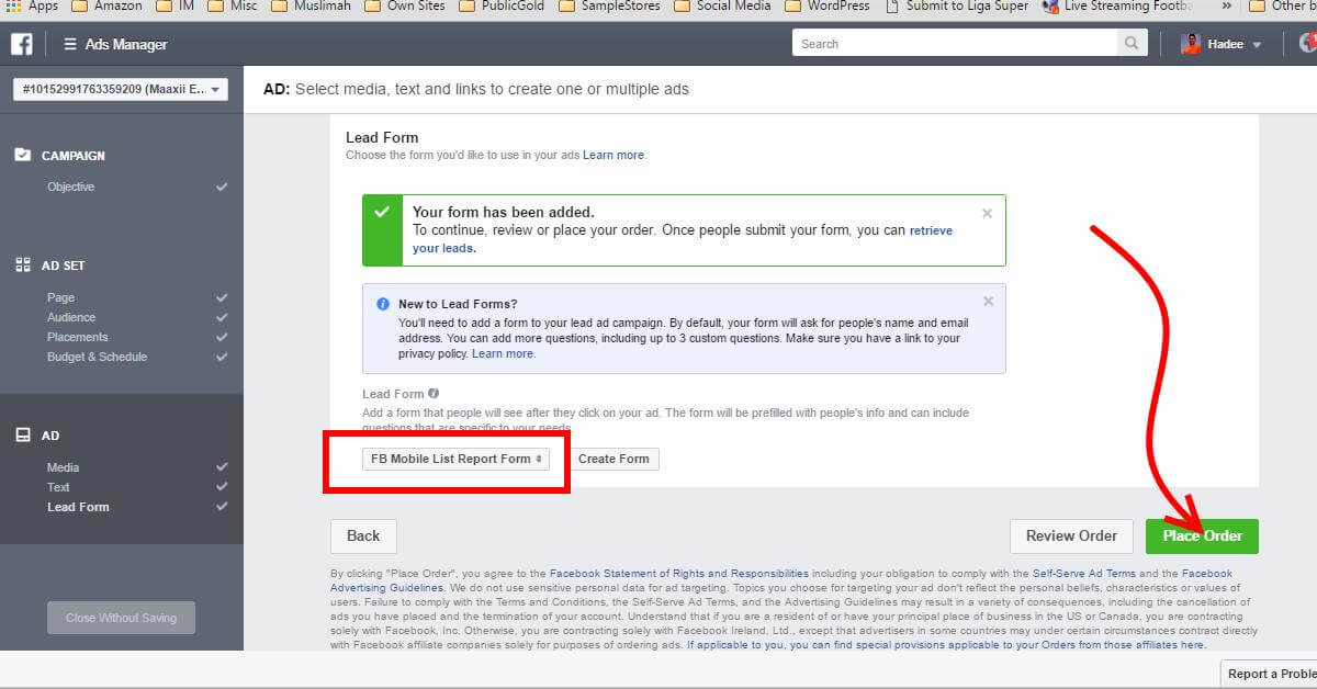 Facebook Ads Ad Lead Form Place Order