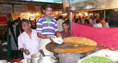 Photo: Pav Bhaji the street food of choice A Gujarat specialty. Basically chopped vegetable onions potatoes curry (Marathi:bhaji) served with a soft bread roll (pav).[ fried on a flat pan. Almost every restaurant in this food count served the same thing. Gujarat India