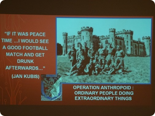 Title slide showing Free Czechoslovak Army in front of  Cholmondeley Castle