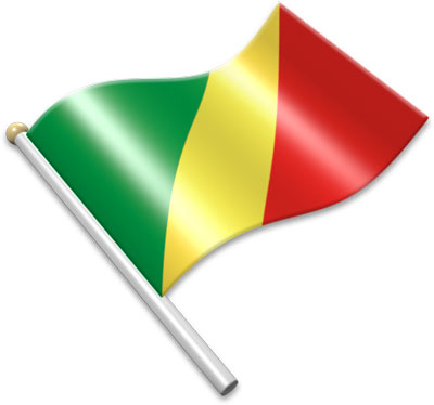 The Congolese flag on a flagpole clipart image