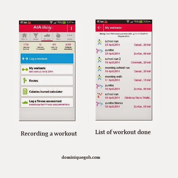 Tracking your workouts via the app