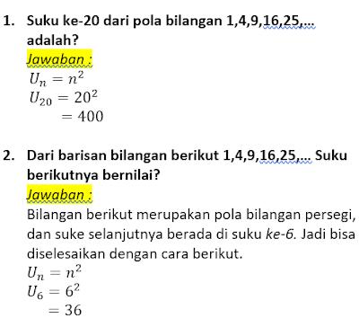 contoh soal dan pembahasan pola bilangan persegi