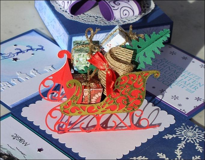 Explosion Box Weihnachten Christmas Santas Sleigh Stampin Up Weihnachtsschlitten Silent Night 05