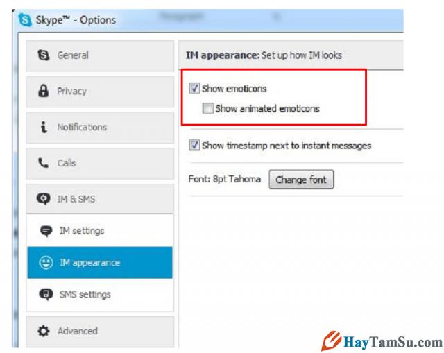 Tắt biểu tượng động chat skype