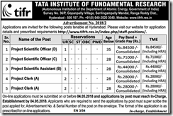 TIFR Advertisement 2018 indgovtjobs.in