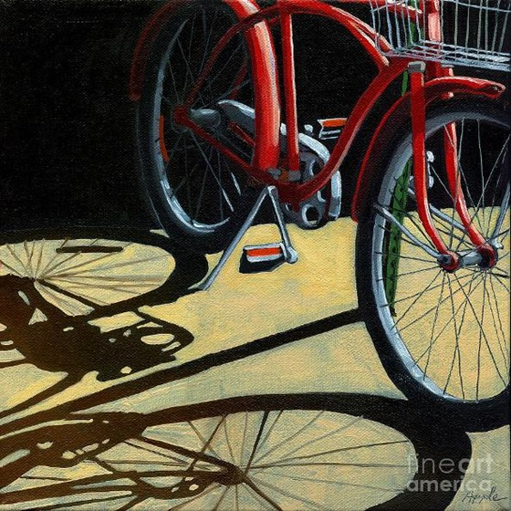 old-red-classic--bike-painting-linda-apple