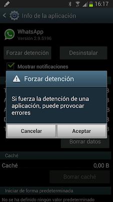 Forzar detención Whatsapp