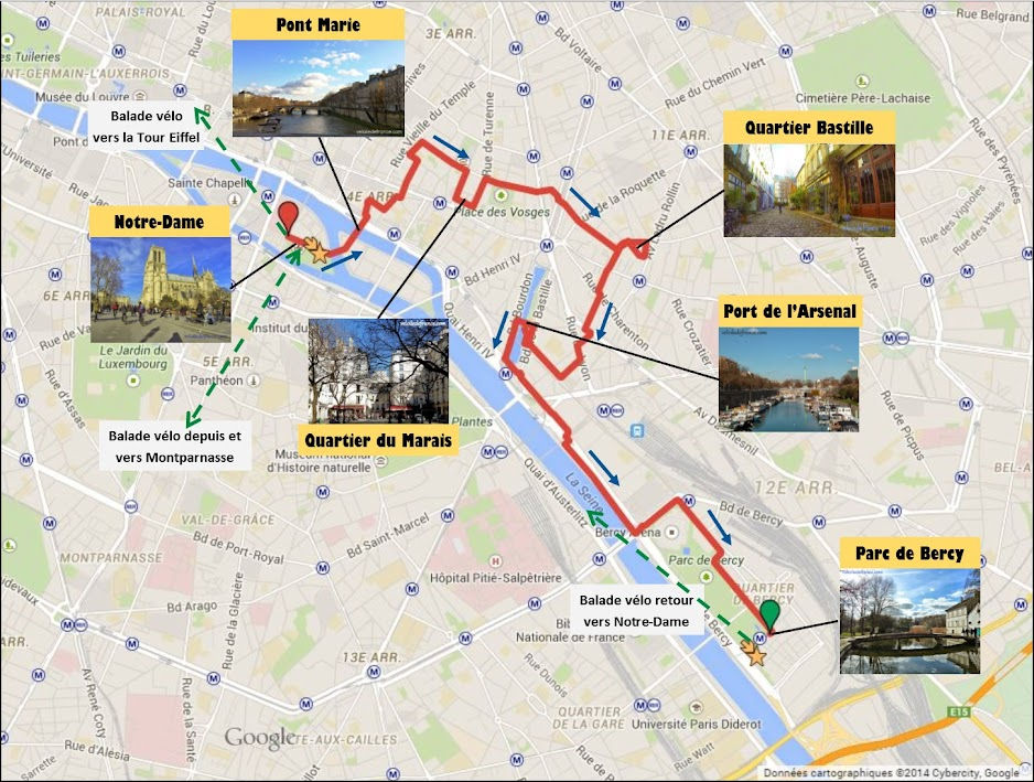 Tracé Circuit à vélo de Notre Dame à Bercy Village par veloiledefrance.com