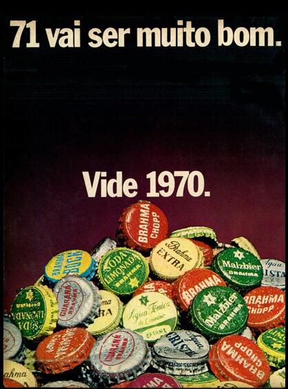 Propaganda antiga da Cervejaria Brahma para promover o fim do ano de 1970