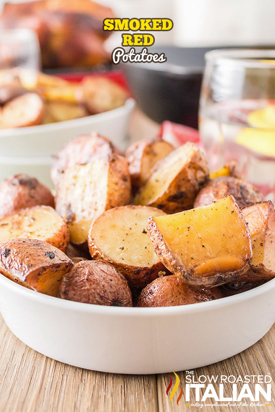 Smoked Red Potatoes in a white bowl