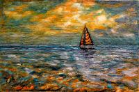 sunny landscape sea yacht