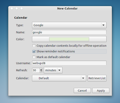 Evolution google calendar