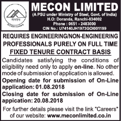 MECON Limited Advertisement 2018 www.indgovtjobs.in
