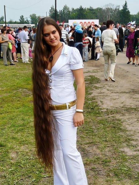 Beautiful girl very long hair