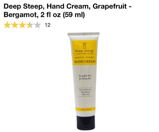 كريم مرطب اليدين الطبيعي Deep Steep, Hand Cream, Grapefruit - Bergamot, 2 fl oz (59 ml)